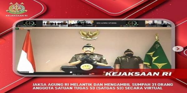 Jaksa Agung RI Lantik dan Ambil sumpah 31 orang anggota SATGAS 53